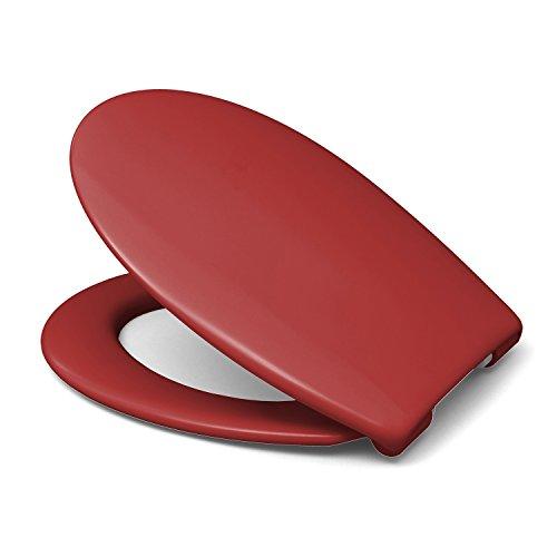 Sanifri 470011132 WC-Sitz Nera, Rot, inkl. SoftClose, einfach einhändig abnehmbar