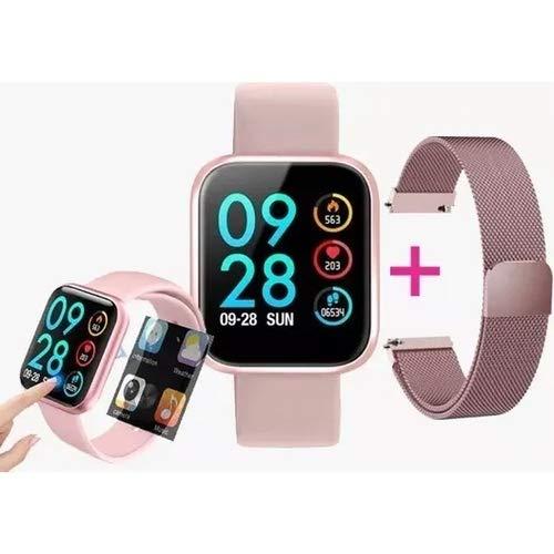Smartwatch P80 Rosa - Original App Da Fit + Touch Screen + Pulseira Milanese Magnética + + Garantia (melhor que P70, B57,B58,P68 e T80)