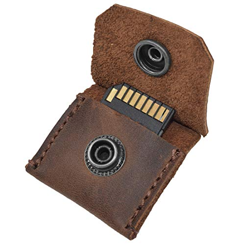 Rustic Leather Switch Cartridge Game Keychain / SD Card / Guitar Pick Holder Handmade by Hide & Drink :: Bourbon Brown