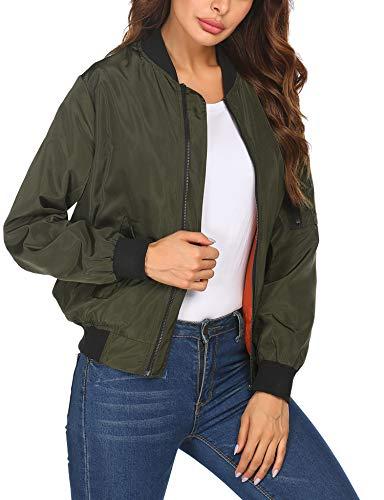 Zeagoo - Chaqueta bomber para mujer, chaqueta corta de piloto, chaqueta ligera con cremallera, cuello alto, para primavera y otoño verde XL