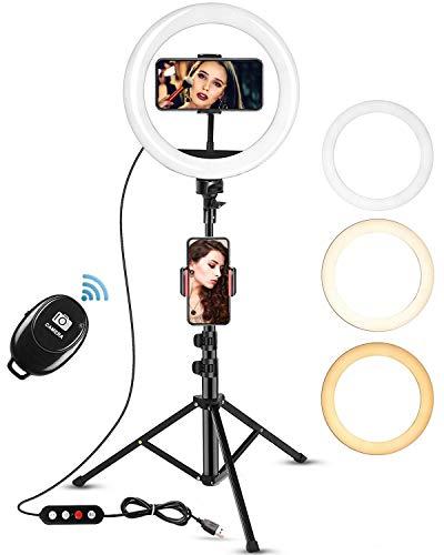 """Ringlicht 10\"""" mit 67 Zoll Stativ, Ringlicht mit Stativ und Bluetooth Fernbedienung,LED Ringleuchte 3 Farbe und 10 Helligkeitsstufen,Selfie Ringleuchte für Selfie,Live-Stream,Makeup YouTube Tiktok"""