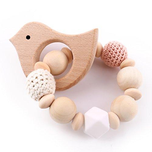 Best for baby Jouet de bébé Hochet Anneau dentition bois montessori Perles de silicone Bébé teether Animal Pendentif DIY Bracelet Bijoux Jouets sensoriels Cadeau