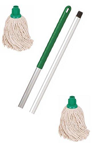Discounted Cleaning Supplies Manico Mocio e 2 Terminali Mocio Professionali Colore Verde Codificato