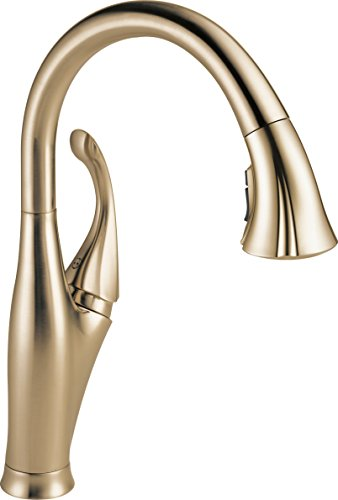 Delta Faucet Addison Single-Handle Kitchen Sink Faucet with Pull Down Sprayer, ShieldSpray Technology and Magnetic Docking Spray Head, Champagne Bronze 9192-CZ-DST