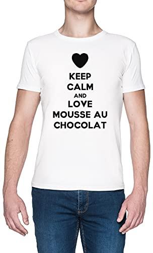Keep Calm and Love Mousse Au Chocolat Blanca Hombre Camiseta Tamaño XXL White Men