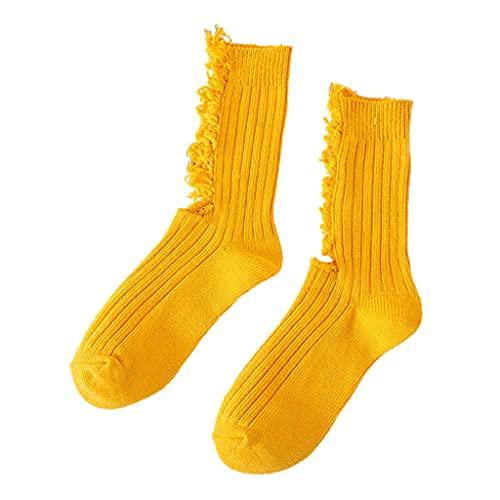 KerDejar Calcetines de mujer Beggar Shabby Ripped Hole Crew para monopatín, acanalado fluorescente, color amarillo