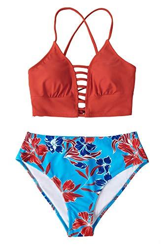 CUPSHE Women's Bikini Swimsuit Floral Print Lace Up Two Piece Bathing Suit, S Orange Blue