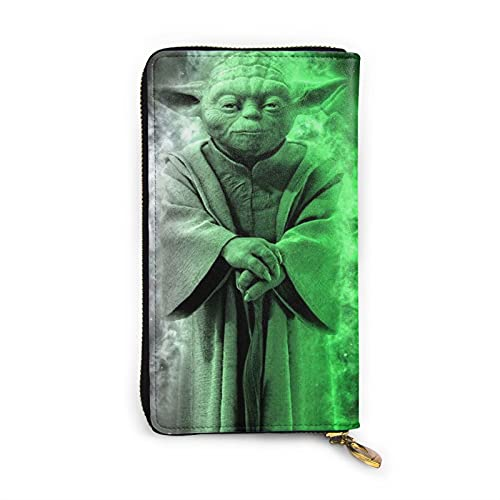 Darth Vader Baby Yoda Star The Wars - Cartera de piel auténtica RFID con cremallera para tarjetas y organizador