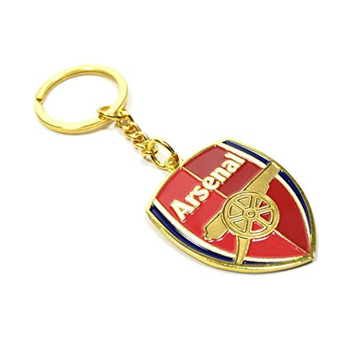 Arsenal FC Official Soccer Crest Keyring (One Size) (Red/Gold)