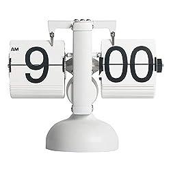 MIDCLOCK Flip Desk Clock, Retro Style Flip Clock, Cool Unique Clock for Home Decoration, Large Number Flip Down Clock, Battery Powered (White)