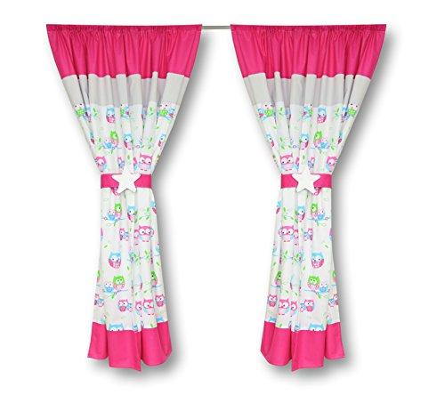 Amilian® Kinderzimmer Vorhänge 155 x 155 cm Set mit Schlaufen Baby Gardinen Vorhang V09 Eule