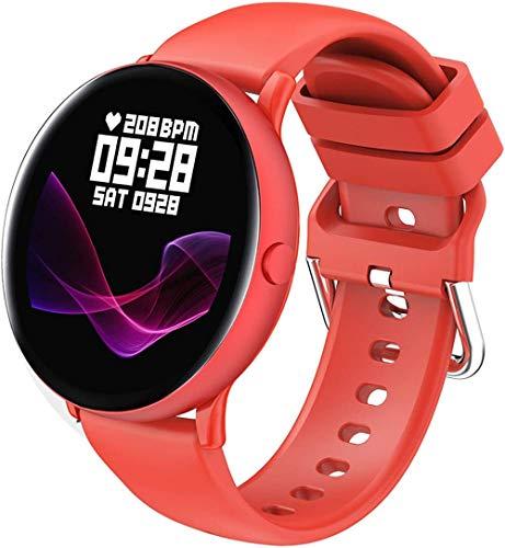 AMBM Mujeres Deportes Smart Watch 1 09 Ronda Pantalla táctil IP67 Impermeable Bluetooth Actividad Smartwatches Monitor de Ritmo Cardíaco Fitness Tracker Pasos Contador Notificaciones Smartphone f-Rojo