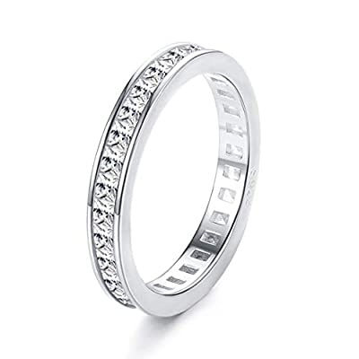 Sllaiss 925 Sterling Silver CZ Eternity Rings White Gold Plated Stackable Band Rings Round-Cut Cubic Zirconia Wedding Engagement Ring Jewelry for Her (5)