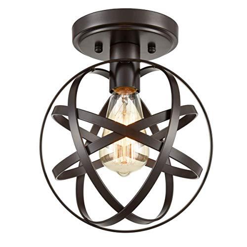 K.LSX lampenkappen voor plafondlampen, Retro industriële Semi Flush plafondlamp, metalen ronde kroonluchter met kooi Flush Mount plafondlamp armatuur