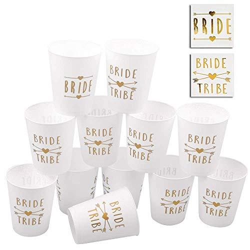 POAO 12 Pack de Coupes de fête Bride and Bride Tribe Bachelorette Party Cups Decorations Parfait pour Les Mariages Douches et fiançailles de mariée (16 oz)