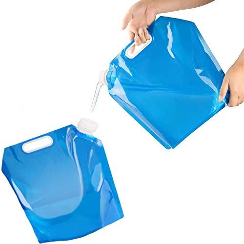 ZHOUZHOU 2Pack Bidón de Agua Plegable Portátil,10 L Bolsa de Agua Potable Coche de contenedores,Recipiente de Agua Plegable,para Camping al Aire Libre Senderismo Picnic Barbacoa