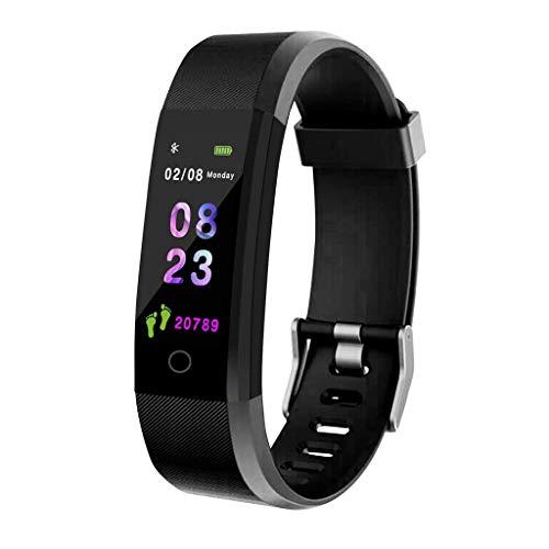 GXFNS Led Touchscreen Smart Armband Fitness Tracker Uhr Herzfrequenzband Wasserdicht Smart Armband Farbdisplay Bluetooth Band,Schwarz