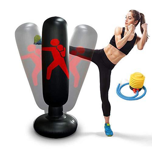 Aufblasbarer Boxsack 160 cm Standboxsack für Kinder Erwachsene Standboxsäcke Trainingsgeräte für Üben Taekwondo, Karate