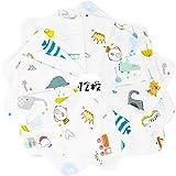 [LILY CUPS] ガーゼ タオル ハンカチ 高密度加工 材料 生地 ベビービブ ベビー ガーゼ タオル ループ 2層ガーゼ 綿100% 30*30cm 12枚セット (A(6柄各2枚、12枚組))