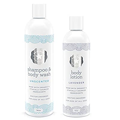 Set of 2 10% Off - Organic Unscented Shampoo & Lavender Lotion - All Natural Organic - EWG Verified - Vegan Gluten-Free Cruelty-Free - PETA Approved - Sensitive Skin and Cradle Cap
