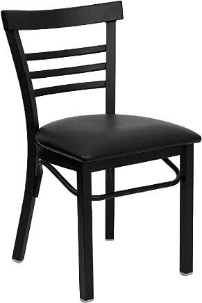 featured product Flash Furniture 4 Pk. HERCULES Series Black Ladder Back Metal Restaurant Chair - Black Vinyl Seat