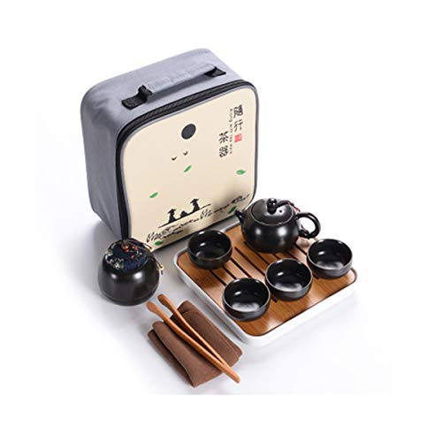 Hoobar Ceramic Kungfu Tea Set,Portable Travel Tea Set with Teapot,Teacups,Tea Canister,Tea Tray and Travel Bag,Suitable for Travel, Home,Outdoor and Office (Black)