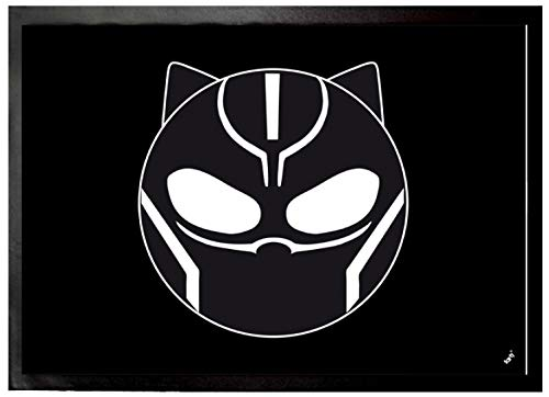 1art1 Black Panther - Emoticon Felpudo Alfombra (70 x 50cm)