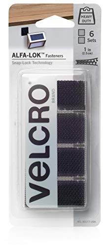 VELCRO Brand VEL-30177-USA ALFA-LOK Fasteners | Heavy Duty Snap-Lock Technology | Self-Engaging and Multidirectional Use | Black, 1 inch Squares, 6 Sets