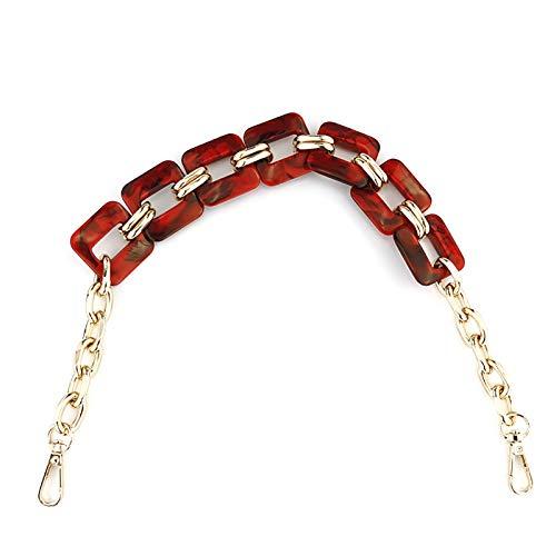 EVFIT Correa de repuesto para bolso de mujer, correa de hombro, accesorios de metal, bolsa de acrílico, bolsa de cinturón, bolsa de cadena, bolso de resina, color rojo, tamaño: 46 x 3,2 cm