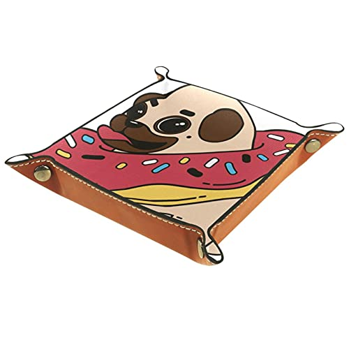 Kleine Aufbewahrungsbox,Herren-Valet-Tablett,Cartoon Pug Dog Donuts,Leder Catchall Organizer für Coin Box Key Schmuck