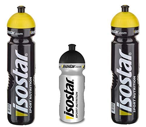 Isostar Sport Water Bottle 500-650 ml + 1000 ml - BPA-Free - Botella de Agua para Correr, Montar en Bicicleta, Gimnasio, Senderismo - Cierre Push & Pull práctico y estanco