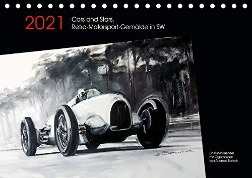 Cars and Stars, Retro-Motorsport-Gemälde in SW (Tischkalender 2021 DIN A5 quer)