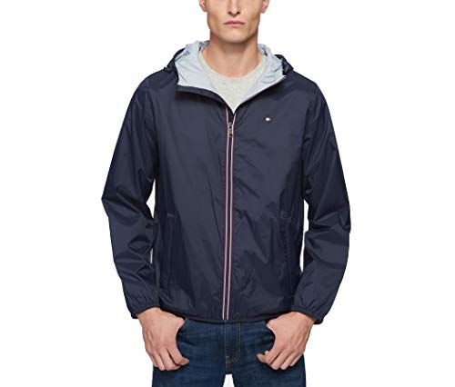 Tommy Hilfiger Men's Lightweight Active Water Resistant Hooded Rain Jacket, navy, Large
