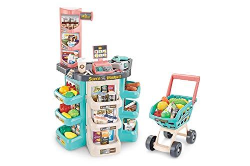Kidz Corner - Banco Supermarket con Carrito de la Compra, Color 3, 442815