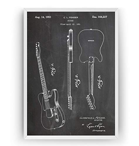 Telecaster Guitar 1951 Patent Print - Music Room Poster Wall Art Posters...