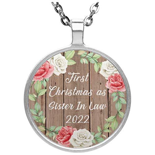 First Christmas As Sister In Law 2022 - Circle Necklace B Collar, Colgante, Bañado en Plata - Regalo para Cumpleaños, Aniversario, Día de Navidad o Día de Acción de Gracias