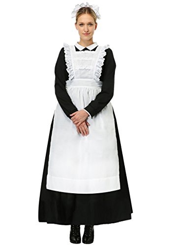 Disfraz de dama francesa victoriana para adulto, disfraz de doncella negra - negro - XS