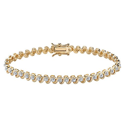 18K Yellow Gold Plated Genuine Diamond Accent S Link Tennis Bracelet (4.5mm), Box Clasp, 7.5 inches