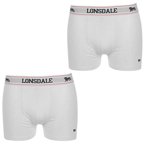 2 x LONSDALE Herren Unterwäsche Boxershorts Trunk Boxer Shorts Weiß (XL)