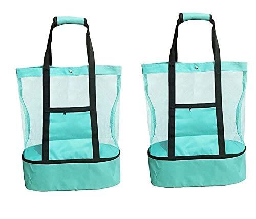 Bolsa de picnic para mujer, compartimento de malla para refrigerador, mochila de playa con cremallera cerrada, bolsa de refrigeración de doble capa, bolsa de picnic (2 unidades, verde)
