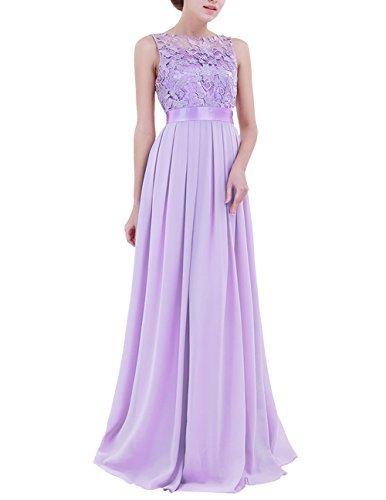 YiZYiF Women Crochet Lace Wedding Bridesmaid Formal Gown Prom Party Maxi Dress Lavender 8