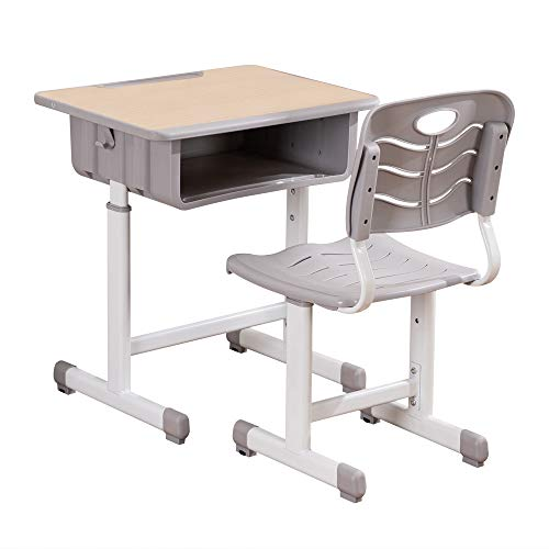 ShowMaven Student Desk and Chair Combo, Height Adjustable Children's Desk and Chair Workstation with Drawer, Pencil Grooves and Hanging Hooks for Home, School and Training (Light Grey&White Oak)