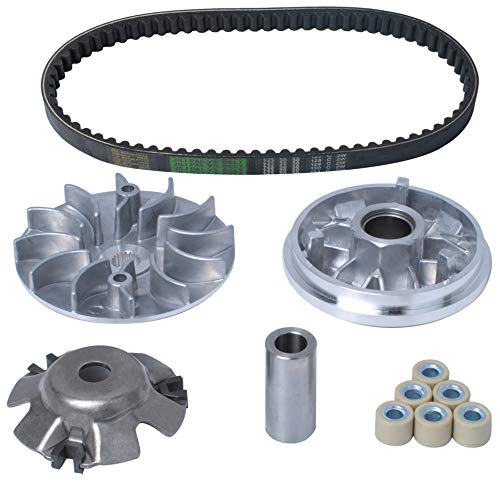 Wadoy Complete Variator Kits Compatible with GY6 125cc/150cc 152QMI/157QMJ ENGINE with 743-20-30 Belt, Assembly for 4-Stroke Engine Scooter ATV and Gokart