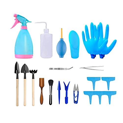 Nizirioo Herramientas de Jardineria, Mini Juego de Herramientas de Jardinería, 21 Pcs Herramientas de Jardín Juego, Bonsai Tools Succulent Care Ideal para Entusiasta de Jardinería Suculenta(Azul)