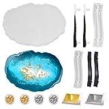Calistouk - 1pcs Moldes de Resina Epoxi de ágata para bandejas, 2 pares de Moldes de resina epoxi de silicona para asas,4 cajas de láminas de oro y plata, 200 hojas de oro y plata
