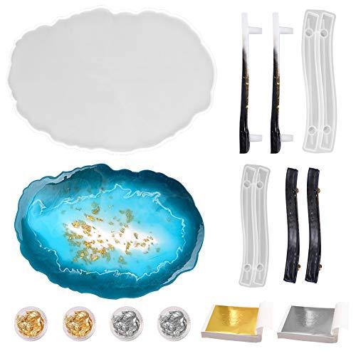 Calistouk - 1pcs Moldes de Resina Epoxi de ágata para bandejas, 2 pares de Moldes de resina epoxi de silicona para asas,4 cajas de láminas de oro y plata, 200 hoja de oro y plata