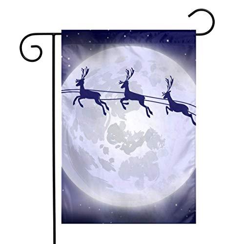 N/A Weihnachtsmann fliegt in seinem Schlitten mit Rentieren Home Vertical One Sided 12 x 18 Zoll