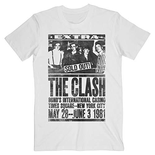Offizielles Vintage-weißes T-Shirt The Clash Punk 'Bond's 1981' Konzert Gr. Small, weiß