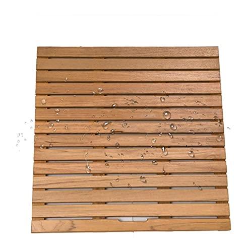 Estera de baño de ducha de madera natural, pedal de pies de teca empalme para no resbalones patas de madera, tamaño personalizable tarima de madera para ducha ( Color : A , tamaño : 90x100cm )