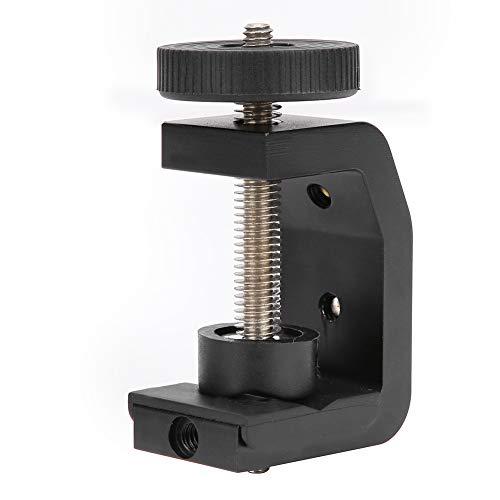 Morsetto da tavolo fisso con clip a forma di C in lega di alluminio con cuscinetto in gomma per supporto treppiede fotocamera torcia, con viti universali multiple da 1/4 di pollice, resistente all'usu